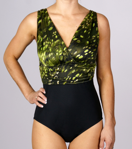 ac35d429d48f8 Longitude Cheetah Shirred Empire V Plunge at SwimOutlet.com - Free Shipping
