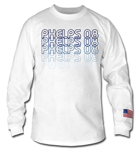 USA Swimming Phelps Long Sleeve T Shirt Repeat Graphic at