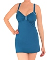 Speedo Solid Piped Thick Strap Swim Dress