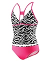 Speedo Girls' Zebra Tankini Surplice X Back 2 Piece