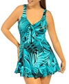 Penbrooke Cocoa Weave Bow Front Swimdress