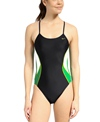 Nike Swim Team Color Block Cut Out Tank One Piece Swimsuit