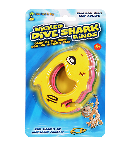 Usa Pool Toy Glow In The Dark Wicked Dive Shark Rings At