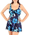 Penbrooke Flower Puff Bow Front Swimdress
