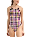 The Finals Funkies Diamond Plaid Wing Back One Piece Swimsuit