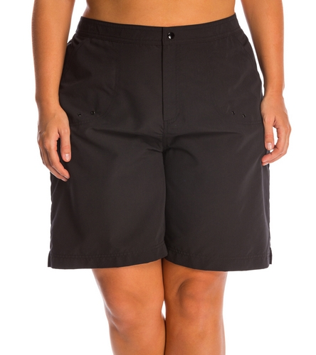6dcb1ac30ab Maxine Women s Plus Size Solid Woven Long Boardshort at SwimOutlet.com