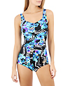 Maxine Riviera Shirred Front Girl Leg One Piece Swimsuit