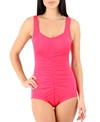 Maxine Solid Shirred All Poly Girl Leg One Piece Swimsuit