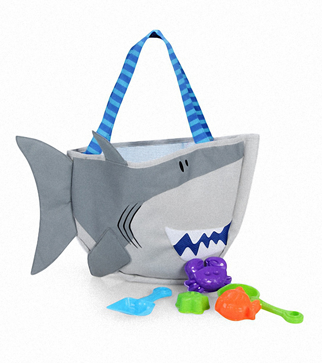 Stephen Joseph Kids' Shark Beach Tote (Includes Sand Toy Set) at ...