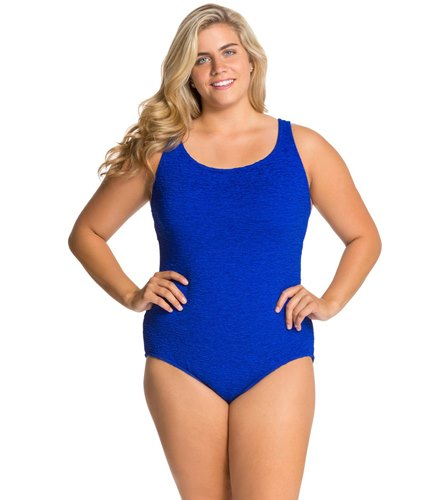 78c709be912 Penbrooke Krinkle Plus Size Chlorine Resistant One Piece Cross Back Swimsuit  at SwimOutlet.com - Free Shipping