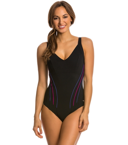 e64f3ccbb49d2 Arena Aquafit Minesse Chlorine Resistant One Piece Swimsuit at  SwimOutlet.com - Free Shipping