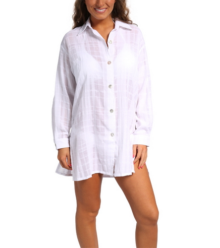 J valdi gauze plaid button down shirt at for Gauze button down shirt