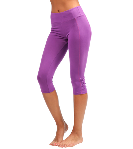 2ec84c5c53 Marika Sanded Dry Wik Pleated Outseam Capri at YogaOutlet.com