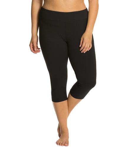 3ffb5c28d64 Marika Plus Size Flat Waisted Yoga Capris at YogaOutlet.com
