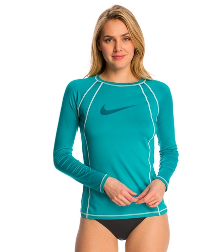Nike women 39 s hydro uv solid long sleeve rashguard at for Womens rash guard shirts