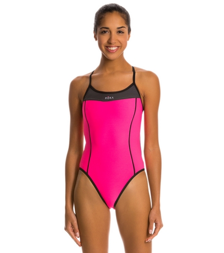 8645333ece ROKA Sports Women s Elite 1-piece Triangle Back Swimsuit at SwimOutlet.com  - Free Shipping