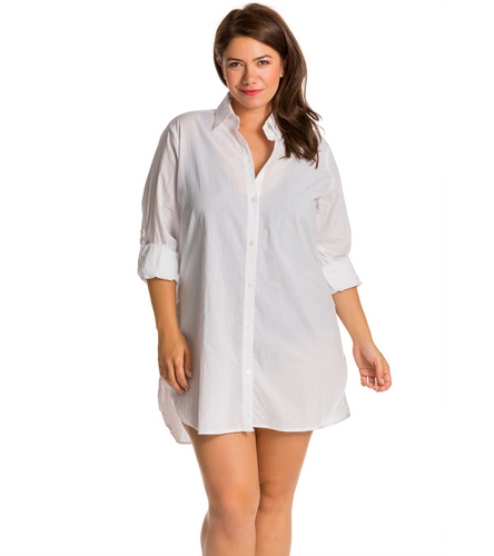 9697536f28929 Tommy Bahama Plus Size Crinkle Boyfriend Cover Up Shirt at SwimOutlet.com - Free  Shipping