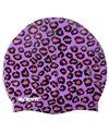 Sporti Cheetah Print Silicone Swim Cap
