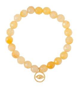 Satya Jewelry Yellow Jade w/ Golden Evil Eye Beaded Bracelet