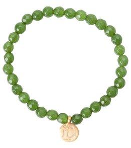 Satya Jewelry Jade w/ Golden Om Beaded Bracelet