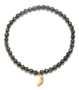 Satya Jewelry Black Onyx Crescent Moon Beaded Bracelet