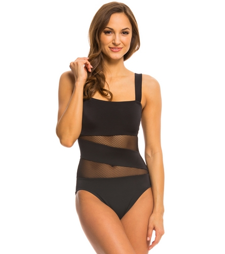 20b3f50f520a9 DKNY Mesh Effect Splice One Piece Swimsuit at SwimOutlet.com - Free Shipping