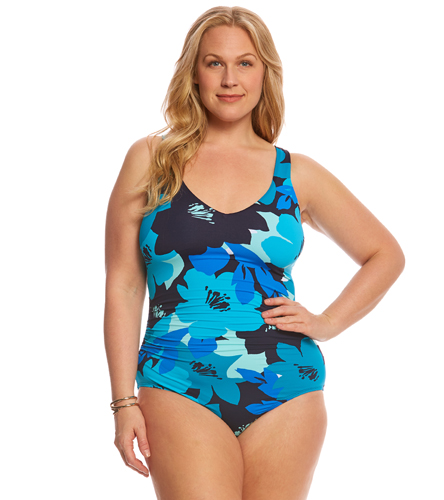 50ad4889bc426 Anne Cole Signature Plus Size In Full Bloom V-Neck One Piece Swimsuit at  SwimOutlet.com - Free Shipping