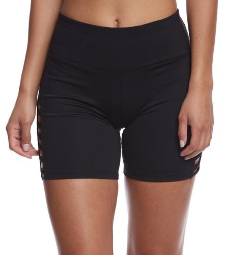 Betsey Johnson Micro-X Banded Cutout Long Yoga Shorts At