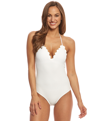 4b0b592b35 Jessica Simpson Under the Sea Scalloped Edge Halter One Piece Swimsuit at  SwimOutlet.com - Free Shipping