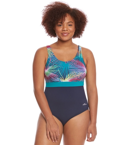 89747ff486b93 Dolfin Aquashape Women s Plus Size Mambo Moderate Scoop Back Color Block One  Piece Swimsuit at SwimOutlet.com - Free Shipping
