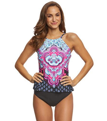 f57595bdcfe95 24th & Ocean Carpet Ride High Neck Tankini Top at SwimOutlet.com - Free  Shipping