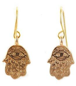 Silver & Sage Gold Hamsa Charm Earrings
