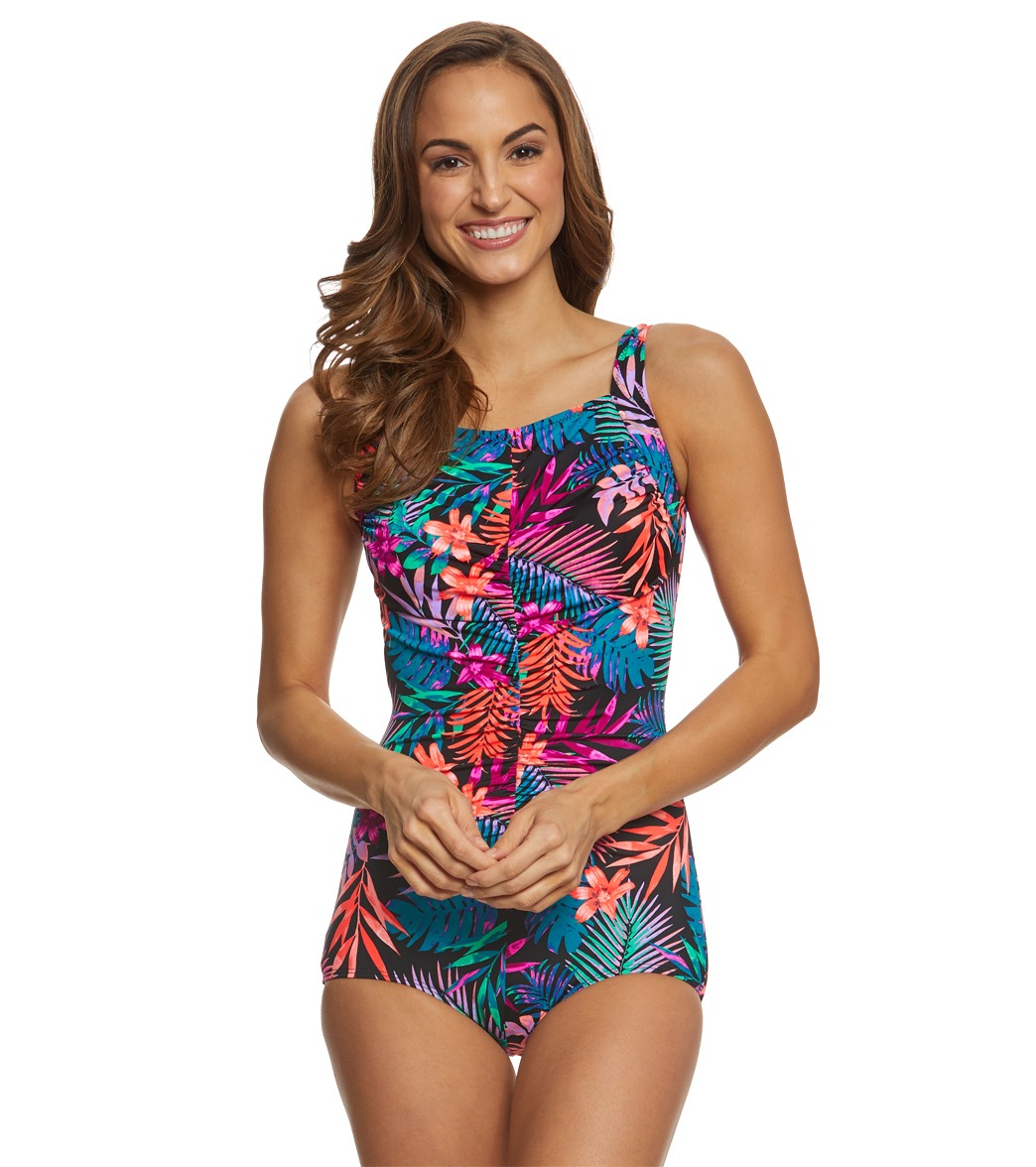 ffdc0a280d0 ... T.H.E. Mastectomy Tropicana Shirred Front Girl Leg One Piece Swimsuit  Play Video. Play Video