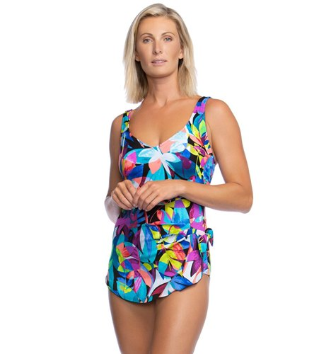 4295f0217f Maxine Fiesta Chlorine Resistant Sarong One Piece Swimsuit at  SwimOutlet.com - Free Shipping