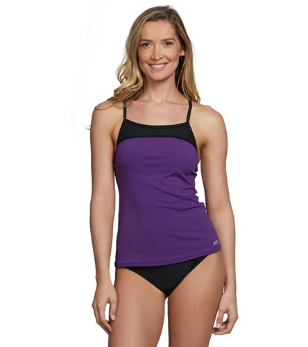 0bdca9c2bf783 Dolfin Women's Aquashape Solid Triple Crossback Chlorine Resistant Tankini  Top at SwimOutlet.com - Free Shipping