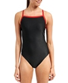 Waterpro Piped Polyester Black with Red Straps One Piece Swimsuit