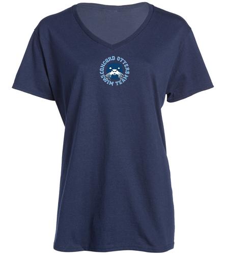 Otters blue t-shirt (W) - SwimOutlet Women's Cotton V-Neck T-Shirt