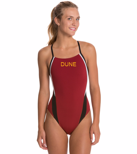 DUNE MAROON TEAM SUIT - Speedo Women's Launch Splice Endurance + Cross Back One Piece Swimsuit