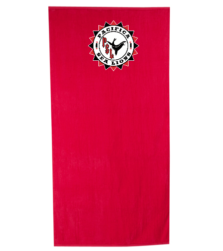 Pacifica Sea Lions Embroidered Towel - RED  - Royal Comfort Terry Velour Beach Towel 32 X 64