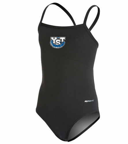 Youth Yankton Black - Sporti Poly Pro Solid Thin Strap One Piece Swimsuit Youth (22-28)