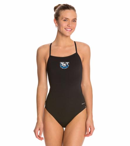 Yankton Black - Sporti Poly Pro Solid Thin Strap One Piece Swimsuit