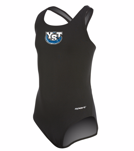 Youth Yankton Black - Sporti Poly Pro Solid Wide Strap One Piece Swimsuit Youth (22-28)