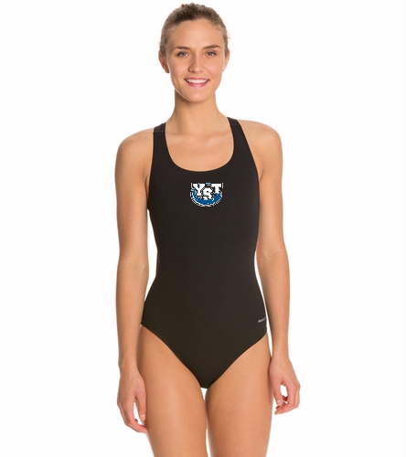 Yankton Black - Sporti Poly Pro Solid Wide Strap One Piece Swimsuit
