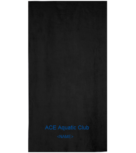 Black ACE Towel - Royal Comfort Terry Velour Beach Towel 32 X 64