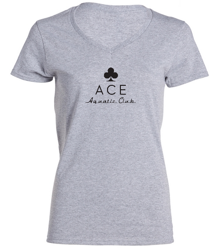 ACE LADIES GREY - SwimOutlet Women's Cotton V-Neck T-Shirt
