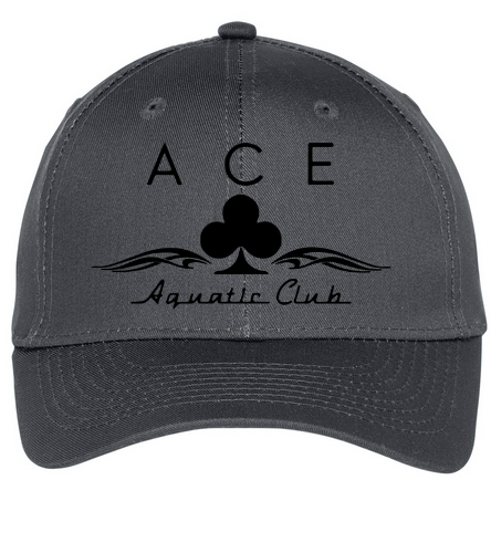 ACE BLACK AND GRAY CAP - SwimOutlet Unisex Performance Twill Cap