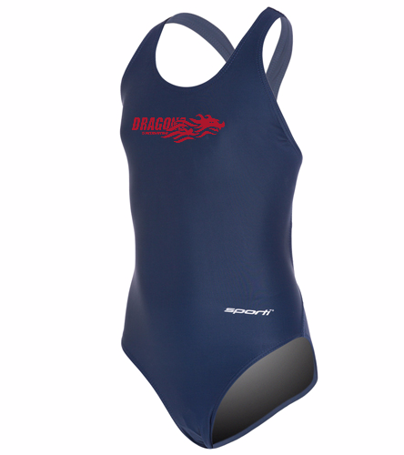 Dragons - Navy - Sporti Solid Wide Strap One Piece Swimsuit Youth (22-28)