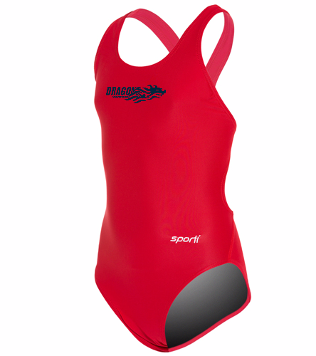 Dragons - Red - Sporti Solid Wide Strap One Piece Swimsuit Youth (22-28)