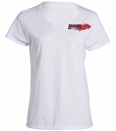 Dragons - White - SwimOutlet Women's Cotton V-Neck T-Shirt