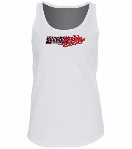 Dragons - White - SwimOutlet Women's Cotton Racerback Tank Top